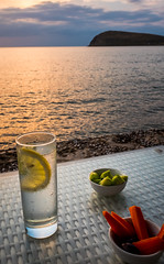 Gin & Nibbles (Blue Waves Cafe Bar - Myrina - Lemnos) ( Fuji X70 Compact) (1 of 1) (markdbaynham) Tags: sea island greek prime fuji drink 28mm north hellas greece grecia fixed gr gt gin f28 compact x70 agean limnos hellenic lemnos myrina apsc fujix 16mp transx