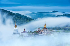 Temples in the fog (keangs) Tags: travel blue sky mist building art history tourism beautiful statue fog architecture asian thailand religious temple ancient asia antique decorative buddha traditional famous religion culture buddhism palace thai spirituality phasornkaew