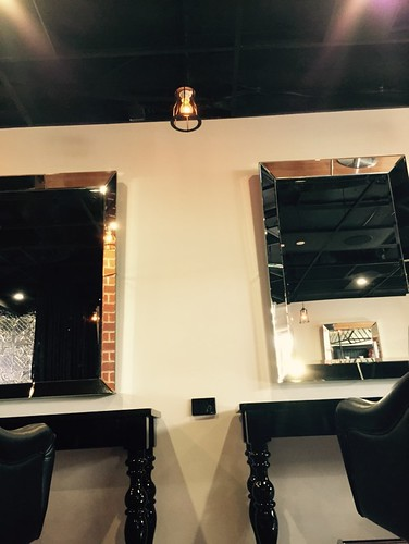 Hanging pendant, power point and downlights for hair salon booths