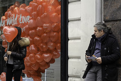 Wild Love (stevedexteruk) Tags: street uk wild london love window french display balloon fries oxford 2015 bershka