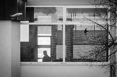 Behind glass (Joerg Schreier) Tags: street city people urban candid strasse streetphotography streetlife menschen stadt leben echt irgendwo ehrlich irgendwer streetfotografie 26dreizehn