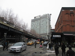 High Line Snow Covered Railroad Overpass Tracks to Nowhere 8534 (Brechtbug) Tags: road park street new york city nyc railroad winter urban snow streets west art architecture garden way design march high downtown gallery path walk manhattan district balcony packing side nowhere tracks overpass rail pedestrian mini el meat line midtown covered mezzanine transportation boardwalk former elevated blizzard derelict reclamation highline skyway redesign the remodeled 2015 03072015