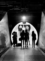 The meeting (jumppoint5) Tags: street city light urban blackandwhite silhouette shadows meeting tunnel together