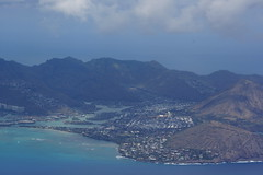 Aerial view of Kuapa Pond, Hawaii Kai Town, Portlock, clouds and Pacific Ocean on Oahu, Hawaii (Eric Broder Van Dyke) Tags: ocean clouds hawaii town spring view pacific oahu aerial hawaiikai portlock 2015 kuapapond