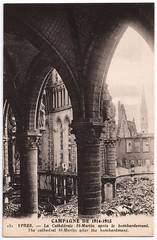 Ypres - St.-Martin's Cathedral (pepandtim) Tags: old original tower church st early ruins war martin cathedral belgium seat postcard great medieval spire cathdrale nostalgia damage nostalgic 1922 plans heavy 1914 1915 masterpiece bombardment ypres 1930 1230 diocese bombardement 1801 1561 1370 47ylc65