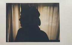 Day 004 (H o l l y.) Tags: shadow portrait film hat fashion silhouette analog self vintage glasses lomography fuji profile retro indie instant curtains instax lomoinstant