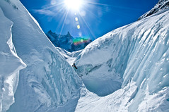 Josefine peaking out from behind the crevasse walls (wesbl) Tags: travel italy ski france alps switzerland europe skiing geneva backcountry chamonix montblanc offpiste backcountryskiing chamonixmontblanc