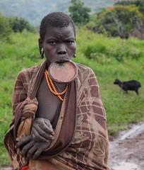 Surmi Woman, Ethiopia (Rod Waddington) Tags: africa portrait people woman costume outdoor african traditional tribal older afrika omovalley ethiopia tribe ethnic afrique ethiopian omo etiopia lipplate surmi tulgit