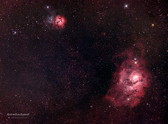 M8 and M20 - Lagoon and Trifid Nebulas (AstroBackyard) Tags: camera sky black rose night way star big space ngc astro galaxy astronomy dust universe bang milky astrology nebular constellation forming