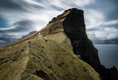 Lighthouse of Kalsoy, Faroe Islands (Sunny Herzinger) Tags: travel lighthouse mountains green nature clouds landscape north fjord fo faroeislands northernisles kalsoy fujixpro2