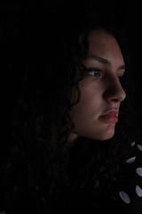 Il mio viso nella penombra (ILARIA GENOVESE) Tags: face ilaria genoveseilaria black dark penumbra sombre gloom murkiness somberness