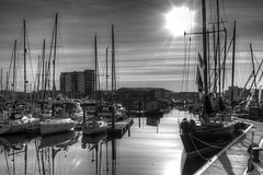 Pen Duick VI 30th April 2016 (JDurston2009) Tags: blackandwhite bw reflection sailing harbour plymouth hdr sailingboat suttonharbour transat penduickvi transatbakerly