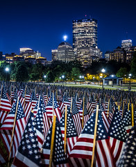 Flags on Boston Common (TomBerrigan) Tags: holiday tower boston america memorial long exposure day flag massachusetts flags american hancock mass