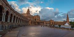 Plaza de Espaa (RaminN) Tags: architecture square spain seville moorish plazadeespaa revival regionalism