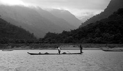 (Sajeeb__) Tags: travel sky people mountain monochrome forest river boat outdoor bangladesh