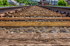 Journey's end (FotoFloridian) Tags: railroad summer newyork sony tracks trains rails owego a6000