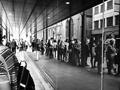 Cambridge bus queue (eek4444) Tags: street cambridge urban white black photography shot iphone