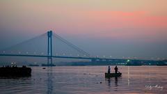 Twilight at Hooghly River, Kolkata (Dillip) Tags: park city bridge sunset india monument gardens night river photography boat twilight memorial stadium victoria cricket eden kolkata hooghly