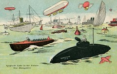 Spofford Lake in the Future, New Hampshire (Alan Mays) Tags: old blue red fish green animals vintage balloons paper boats funny humorous lighthouses comic antique aircraft ships humor lakes newhampshire illustrations nh ephemera fantasy future postcards whales 1910 sailboats 1910s buoys printed futuristic submarines battleships flyingfish blimps airships spoffordlake spofford dirigibles seaserpents