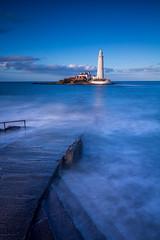 St Mary's Lighthouse (mandyhedley) Tags: sea seascape beach misty coast waves northeast tidal whitleybay cullercoats stmaryslighthouse