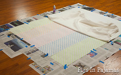 Basting backing to batting (pigsinpajamas) Tags: neon quilt fabric batting layercake basting backing jellyroll rileyblake