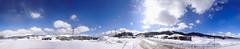White on blue (amfipolos) Tags: blue winter sky panorama white mountain snow ski cold photoshop landscape pano 360 panoramic 180 greece skiresort stitched sonycybershot epirus metsovo