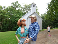 Goin' to the Chapel? (larry_boy17) Tags: park trip vacation mountains church outside outdoors doll dolls cove getaway great ken barbie redhead national baptist np smoky methodist plaid smokies articulated midge flexible cades jointed