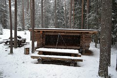 Snow falling at a fireplace in forest just SE of Pond Hrnsilm (Espoo, 20120107) (RainoL) Tags: winter snow forest espoo finland geotagged january u fin nuuksio 2012 uusimaa nyland esbo hrnsilm 201201 20120107 geo:lat=6029524800 geo:lon=2460550600