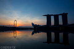 Good Morning Singapore (Andrew Fok Photography) Tags: city reflection water modern sunrise bay