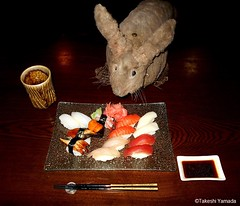 Dr. Takeshi Yamada and Seara (Coney Island Sea Rabbit) at the Shinjuku Japanese Restaurant (Beffet) in Brooklyn, NY on April 28, 2016.  20160428Thu DSCN5166=0020C.. assorted sushi including Amaebi and Uni (14) (searabbits23) Tags: ny newyork sexy celebrity rabbit art hat fashion animal brooklyn sushi asian coneyisland japanese star restaurant tv google king artist dragon god manhattan famous gothic goth uma ufo pop taxidermy vogue cnn tuxedo bikini tophat unitednations playboy entertainer oddities genius mermaid amc mardigras salvadordali performer unicorn billclinton seamonster billgates aol vangogh curiosities sideshow jeffkoons globalwarming mart magician takashimurakami pablopicasso steampunk damienhirst cryptozoology freakshow seara immortalized takeshiyamada roguetaxidermy searabbit barrackobama ladygaga climategate  manwithrabbit
