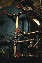 pebblehill-45 (gracevmarrero) Tags: old blue red industry water colors metal contrast dark gold rust industrial factory pipes weathered haunting aged gears boiler