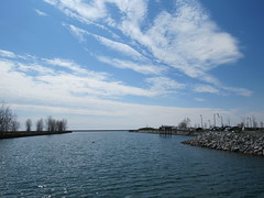 Wilkeson Pointe April 2016 (ianulimac) Tags: sculpture dog sun lighthouse fish ny tower water harbor clyde boat canal spring buffalo downtown industrial ship lakeerie waterfront wind walk grain hound hike slip cheerios mills grainelevator luckycharms skyway 2016 generalmills outerharbor wilkesonpointe