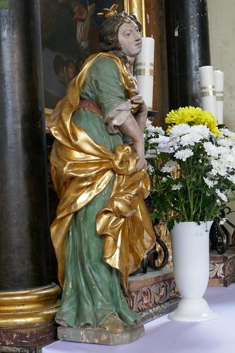 Figura św. Apolonii (1728, Klahr Starszy) w kościele Podwyższenia Krzyża Świętego w Konradowie