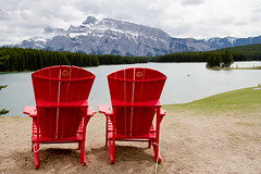 Parks Canada Red Chairs  Banff (mcginnissarahanne) Tags: banffnationalpark banff parks canada parkscanada redchairs redchairsprogram sharethechair landscape tourism travel mountains takearest summer trekking alberta prairies rockymountains