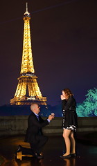 "She said, ""yes!"" (William Jenkin) Tags: people paris france tower love night engagement couple emotion eiffel romance lovers romantic proposal emotions proposing"