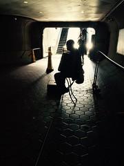 Accordion (The Big Jiggety) Tags: street musician music backlight de la metro mtro tunnel accordion rue chiaroscuro clairobscur musicien accordon metpo