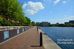 Ontario Basin (jonnywalker) Tags: city trees manchester apartments salfordquays bluesky salford quays watersport ontariobasin greatermanchester centralbay