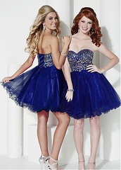 Lovely Tulle Sweetheart Neckline A-Line Homecoming Dress With Beadings & Rhinestones (miyadresses2016) Tags: bluedress sexydress homecomingdrsss graduationdress straplessdress cocktaildress partydress