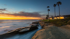 Million Dollar View (David Colombo Photography) Tags: ocean california blue trees sunset sea sky orange seascape home water yellow landscape twilight nikon rocks waves pacific sandiego dusk palmtrees bluehour reef d800 windandsea davidcolombo davidcolombophotography