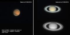Mars-Saturne_C9-DBK21-DMK41_20160621 (frankastro) Tags: mars planet astronomy planete astronomie saturne