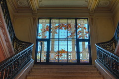 The Museum's Staircase (KC Mike Day) Tags: glass pane window art museum staircase