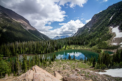 Lower Rowe Lake (leah.kling) Tags: trip trees sky mountain lake canada mountains green water forest river landscape photography waterfall stream hike trail alberta waterton