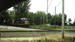 Poltergeist Gates (EX22218 - ON/OFF) Tags: blue trees tower yellow train dead high weeds wires mast csx
