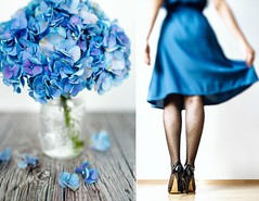 Cuando encuentras Hortencias que combinan con tu vestido   (www.juliadavilalampe.com) Tags: vienna wien flowers blue summer woman selfportrait stockings girl azul austria shoes dress tights polka heels blau dots viena autorretrato blackshoes hortencias tiltshift dptico viajeconjulia