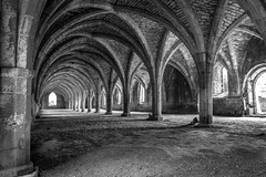 Fountains Abbey (ian.emerson36) Tags: abbey ripon northyorkshire yorkshire arches architecture listed heritage nationaltrust monks england stone monastery cloister 1018mm canon blackwhite indoor shadows light windows arch