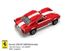 Ferrari 250 GT LWB Berlinetta 'Tour de France' (Scaglietti - 1958) (lego911) Tags: auto italy france classic sports car de model italian tour lego render under over ferrari 1950s million 1958 gt coupe challenge lemans thousand 250 cad sportscar racer 89 povray v12 tdf moc scaglietti berlinetta 1039 ldd lwb miniland lego911 1039gt overamillionunderathousand