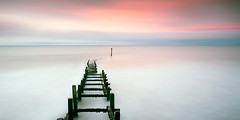 Lead-Out (petefoto) Tags: pink sunset snow seascape hail clouds norfolk filters groynes seadefence overstrand bwnd110 nikond810 lee09sgrad