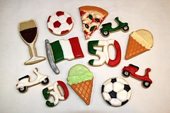 Italy Cookies (Nadia Bakes) Tags: birthday italy cookies ball italian vespa wine soccer scooter pizza gelato 50th 50 soccerball 50thbirthday falg a