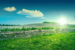 Sunshine over a beautiful countryside landscape (Polarpx.com) Tags: morning blue trees light summer sky cloud sun sunlight plant color green nature beautiful beauty field grass sunshine weather rural season landscape outdoors countryside daylight spring scenery day view natural bright farm vibrant horizon country lawn scenic meadow sunny scene growth pasture land environment agriculture grassland plain idyllic herb cloudscape