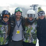 Robbie Dixon and Dani Robson with Team BC athletes Katrina van Soest and Brooke Lukinuk, Whistler Cup 2015, super-G finish